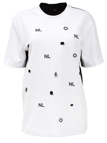White And Black Regular Fit T-Shirt With Embroidery | Anne