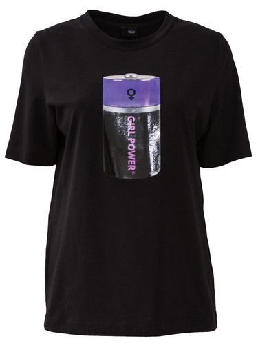 Black Regular Fit T-Shirt With Patent Print | Power