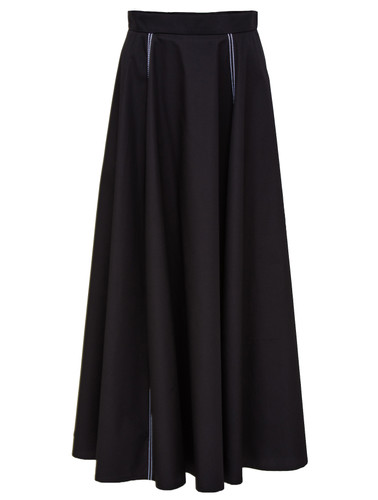 Black Maxi Skirt With Side Cuts And Contrast Stitching   Aurelia
