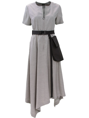 Taupe Striped Midi Asymmetric Dress With Belt Bag | Georgina