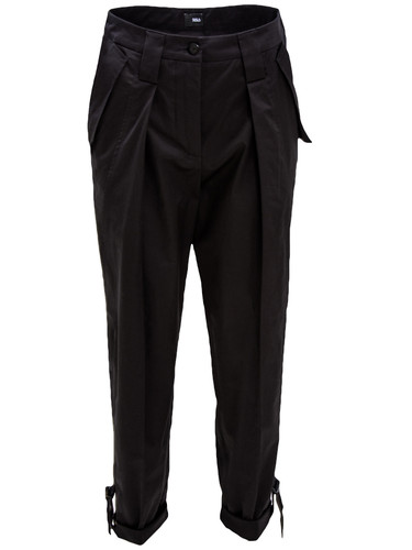 Black Pleated Tapered Cotton Trousers With Straps | Leandra