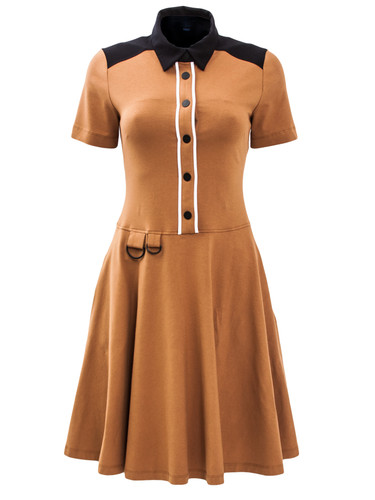 Mink Brown Jersey Sun-Cut Dress With Shirt Collar | Harriet