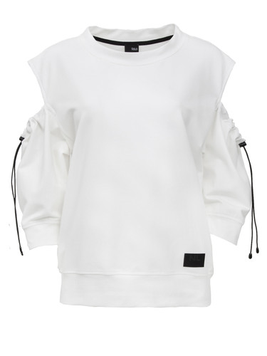 Ivory Sweat Shirt With Three Quarters Sleeves | Abbie
