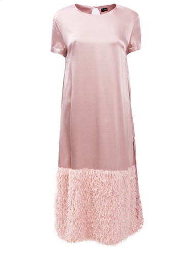 Rose Sateen Midi Shift Dress With Feather Effect Trim | Marlena