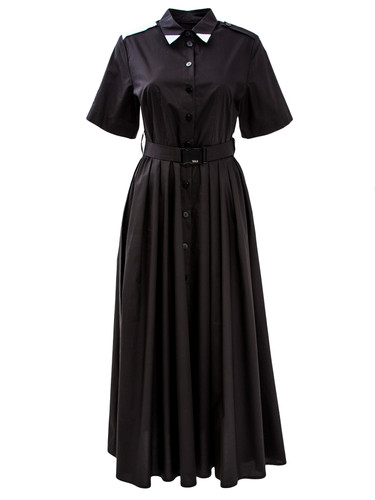 Black Maxi Shirt Dress With Shoulder Straps And Belt | Piper