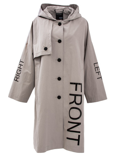 Beige-Gray Trench Coat With Hood And Print | Henrietta
