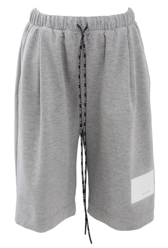 Gray Sweat Knee Length Track Shorts With Patent Print | Carlena