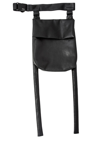 Black Eco leather Belt Bag With Straps | Brie