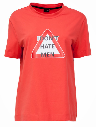 Coral Regular Fit T-Shirt With Statement Print | Harper