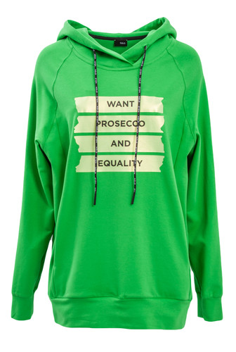 Green Sweat Pullover With Hood And Statement Print | Prosecco