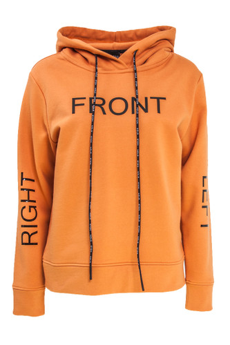 Orange Sweat Pullover With Hood And Rubber 3-D Prints   Savannah