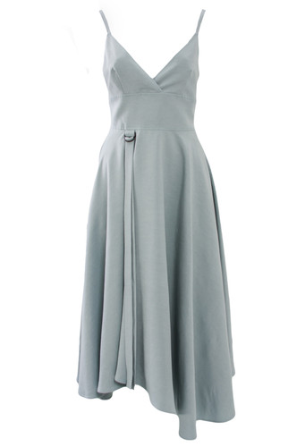 Mint Linen Midi Sun Dress With Asymmetric Hem Line | Lea