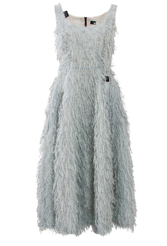 Mint Decollete Flared Midi Dress With Feathers Effect | Leonora