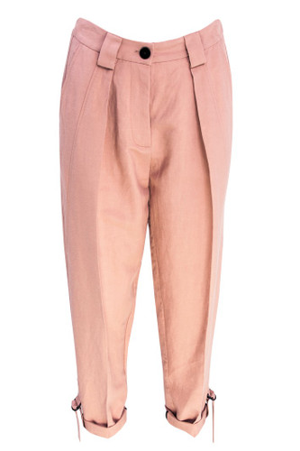 Old Rose Pegged Linen Cropped Trousers With Straps | Laurana