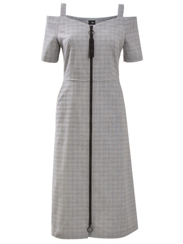 Gray Plaid Knee Length Dress With Cold Shoulders | Melita
