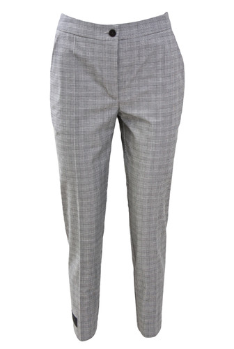 Gray Plaid Cropped Cigarette Trousers With Label | Joe