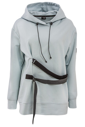 Baby Blue Sweat Shirt With Hood And Straps | Clarie