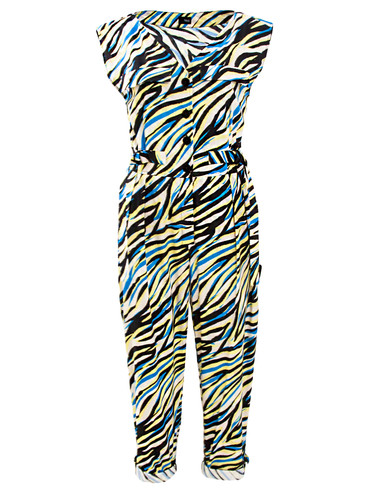 Zebra Cotton Pegged Jumpsuit With Straps | Charlie
