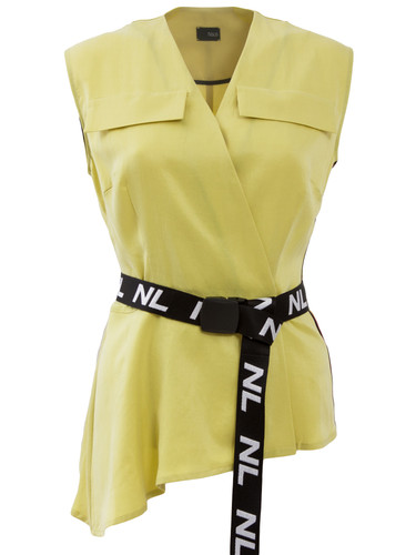 Lemon Yellow Asymmetric Double Breasted Top With Belt | Patricia