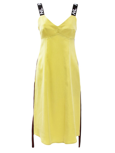 Lemon Yellow Knee Length Sun Dress With Branded Straps | Angela