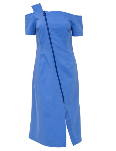 Blue One Shoulder Midi Dress With Zipper | Thelma