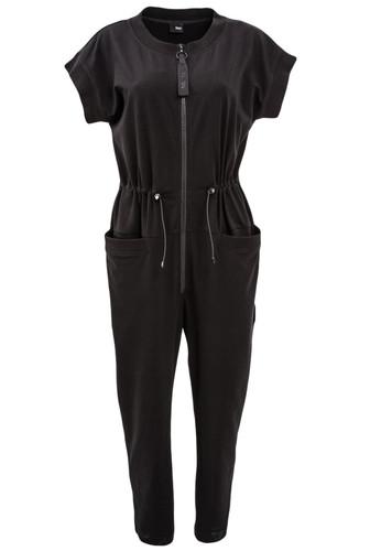 Black Cotton Jersey Jumpsuit With Zipper | Fernanda