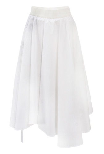 White Sun-Cut Midi Skirt With Asymmetric Hem Line | Raimona
