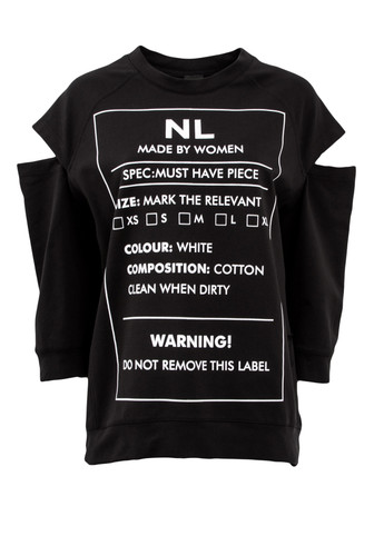 Black Sweat Jumper With 3/4 Sleeves And Print | Warning