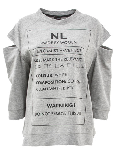 Gray Sweat Jumper With 3/4 Sleeves And Print | Warning