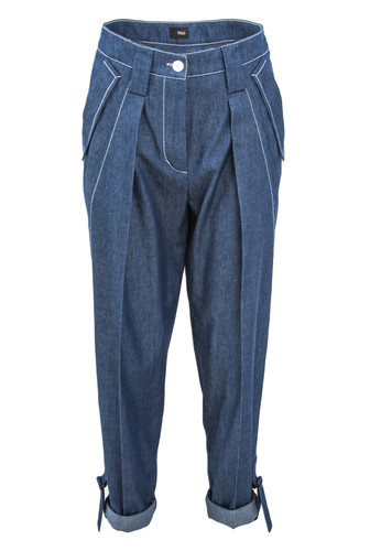 Denim One Pleat Tapered Cotton Trousers With Straps | Leandra