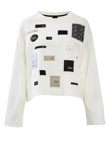 Ivory Heavy Jersey Cropped Jumper With Nolo Patches | Labels