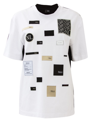 White And Black Regular Fit T-Shirt With Nolo Patches | NL-Labels