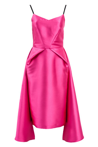 Pink Duchess Cocktail Dress With Draping |Pink