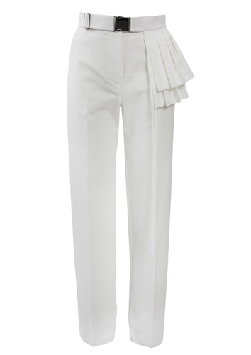 White Tapered Trousers With Pleated Belt | Sonora