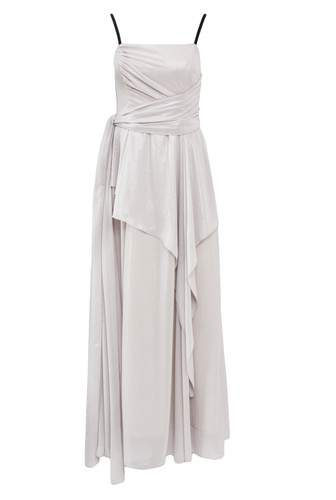 Pearl Lame Evening Gown With Draping | Pearl