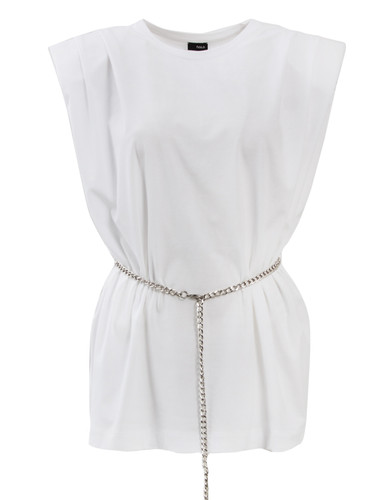 White Padded Shoulder T-Shirt With Chain Belt | Alida