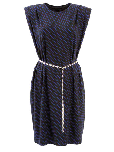 Navy Padded Shoulder T-Shirt With Chain Belt | Carolla