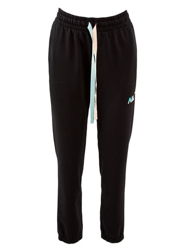Black Sweat Track Pants With Two Color Ribbons | Alla