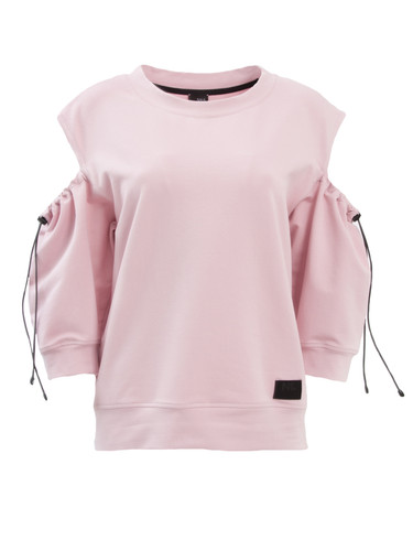 baby Pink Sweat Shirt With Three Quarters Sleeves | Abbie