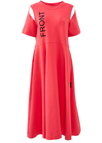 Coral Flared Midi Dress With Cutouts And 3D Prints   Celine