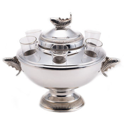 Silver Plated Caviar and Vodka Server