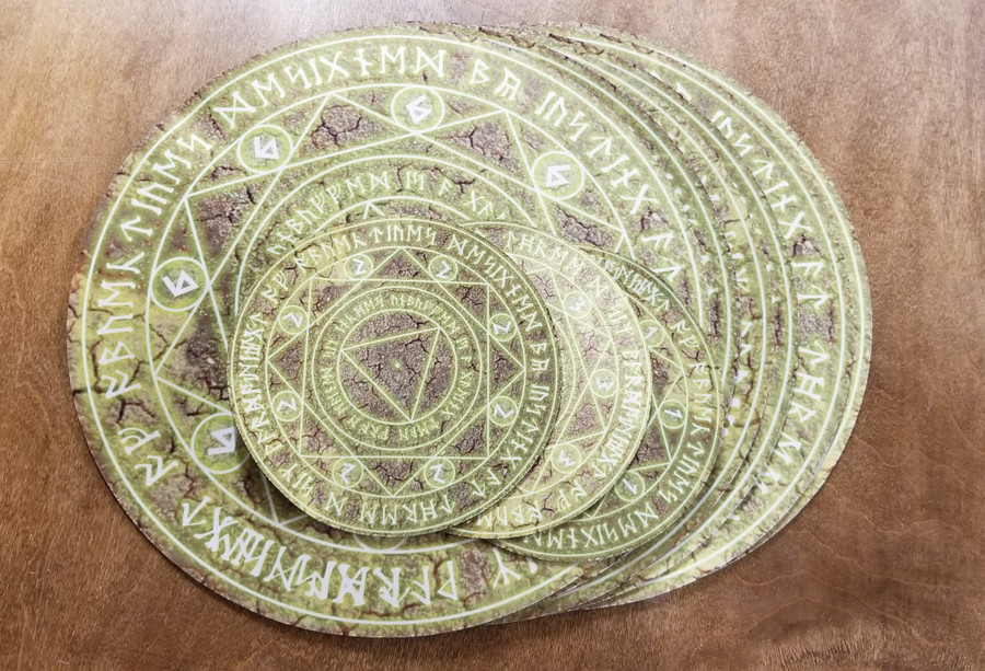 """Overstock - 12"""" and 6"""" Yellow Spell Circle over Cracked Earth"""