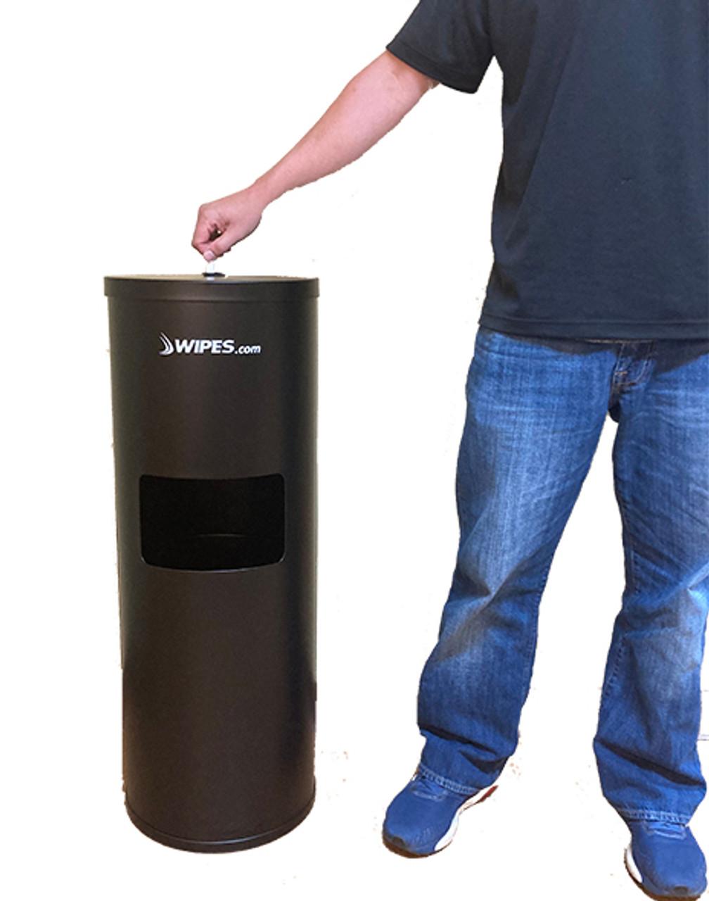 Stainless Steel Floor Stand Wipes Dispenser - Black