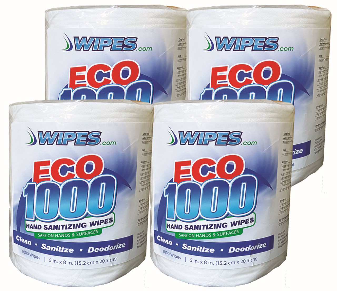 Wipes.com ECO1000 Wipes - 1000 Count/4 Rolls