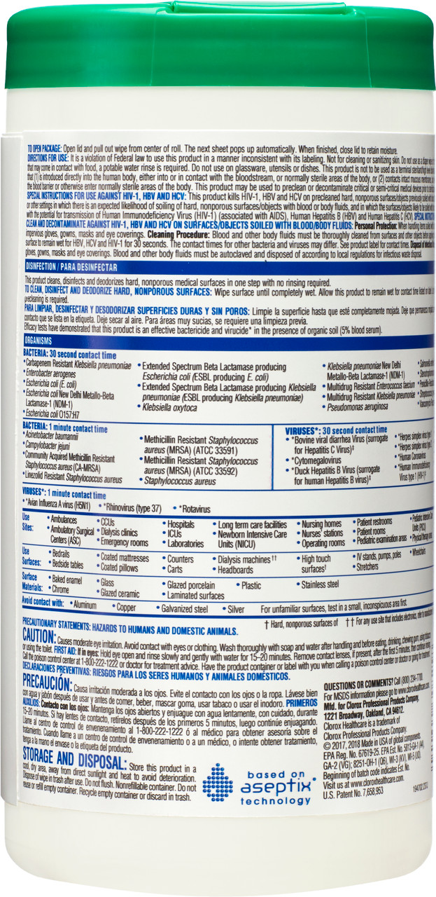 Clorox Healthcare® Hydrogen Peroxide Cleaner Disinfectant Wipes, 155 Count Canister (Pack of 6) (30825)
