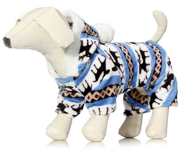 Blue Winter Fleece Dog Onesie