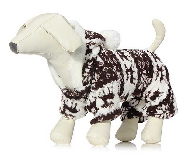 Brown Winter Fleece Dog Onesie