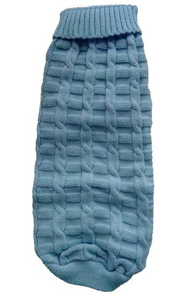 Blue Plain Knitted Dog Jumper