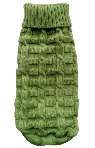 Green Plain Knitted Dog Jumper