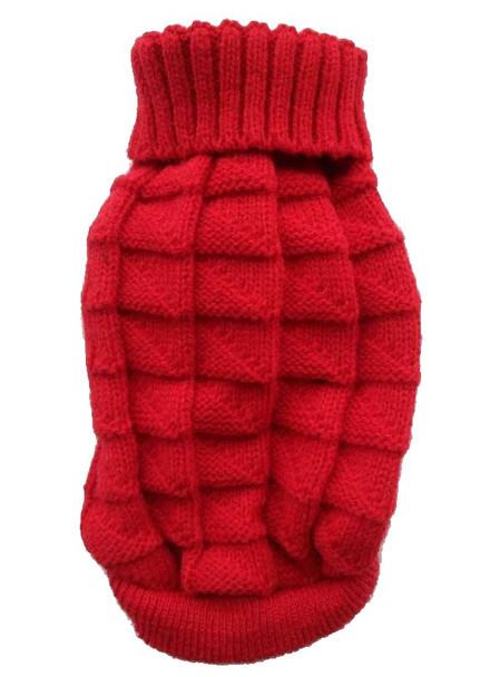 Red Plain Knitted Dog Jumper